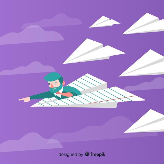 Conceito de liderança com aviões de papel Vetor grátis
