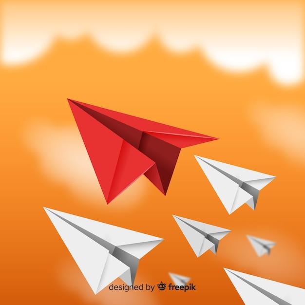 Conceito de liderança e aviões de papel Vetor grátis