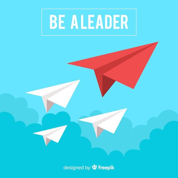 Conceito de liderança e design de aviões de papel Vetor grátis