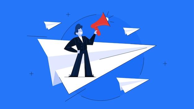 Conceito de liderança. ideia de trabalho em equipe e orientação. profissional leva os trabalhadores ao sucesso nos negócios. ilustração Vetor Premium
