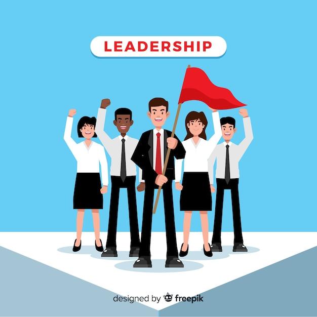 Conceito de liderança plana Vetor grátis