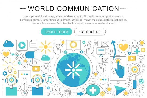 Conceito de linha plana de comunicação mundial Vetor Premium