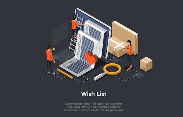 Conceito de lista de desejos isométrica. personagens de tiny people preparam a lista de desejos para preencher Vetor Premium