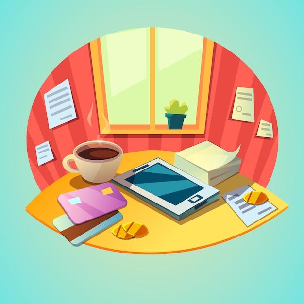 Conceito de local de trabalho de negócios com itens tablet e escritório no estilo retrô dos desenhos animados Vetor grátis