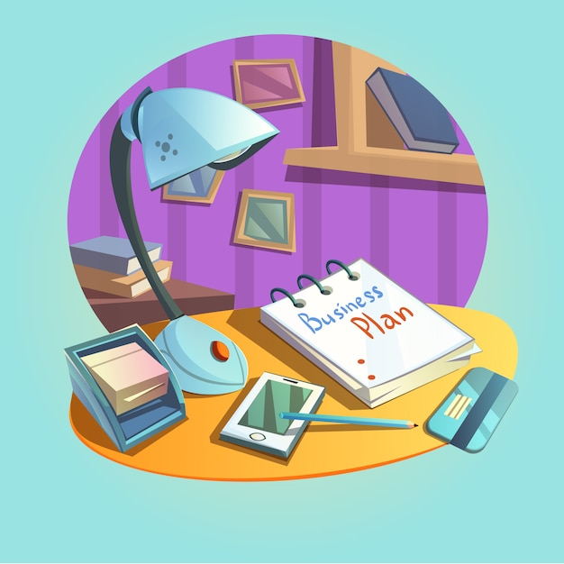 Conceito de local de trabalho de negócios com mesa e escritório itens estilo cartoon retrô Vetor grátis