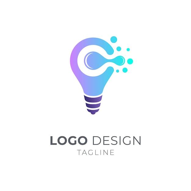 Conceito de logotipo bulbo e letra c Vetor Premium