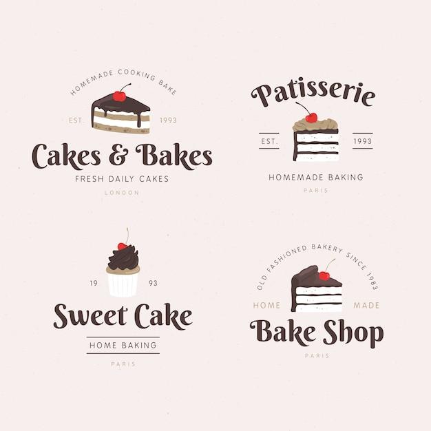 Conceito de logotipo de bolo de padaria Vetor Premium