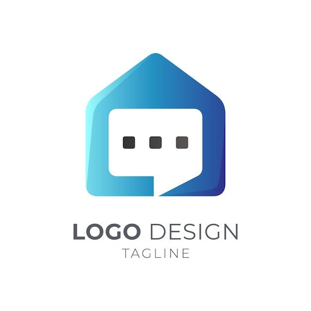 Conceito de logotipo de conversa de casa Vetor Premium