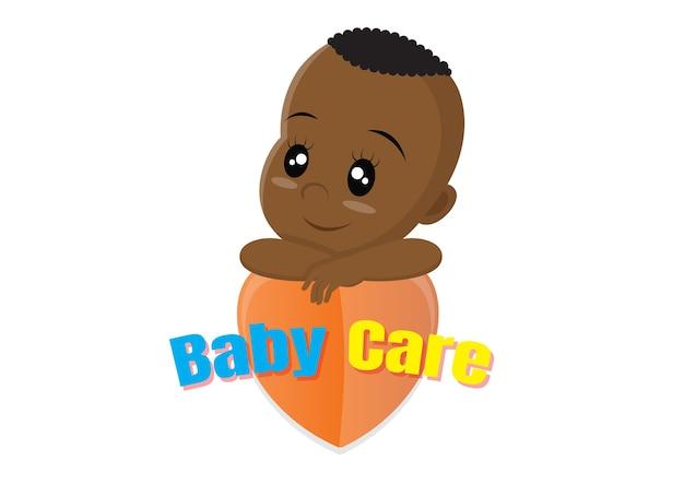 Conceito de logotipo de cuidados bebê africano. Vetor Premium