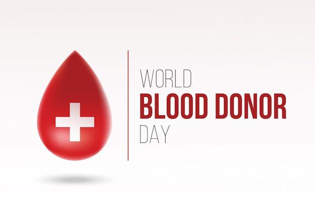 Conceito de logotipo de dia de doador de sangue mundo realista Vetor Premium