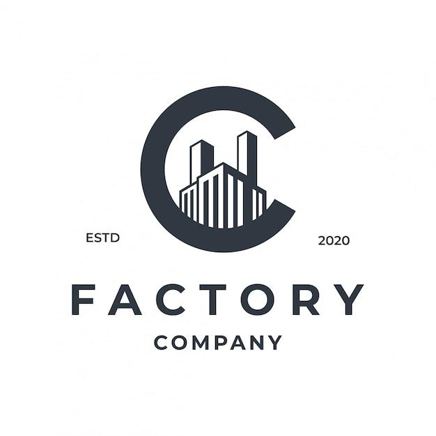 Conceito de logotipo de fábrica com elemento de letra c. Vetor Premium