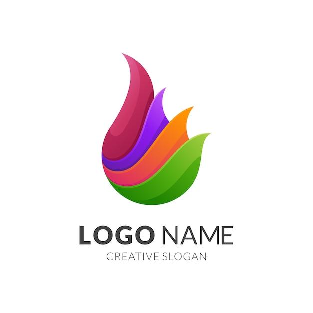Conceito de logotipo de fogo, estilo de logotipo moderno em cores gradientes vibrantes Vetor Premium