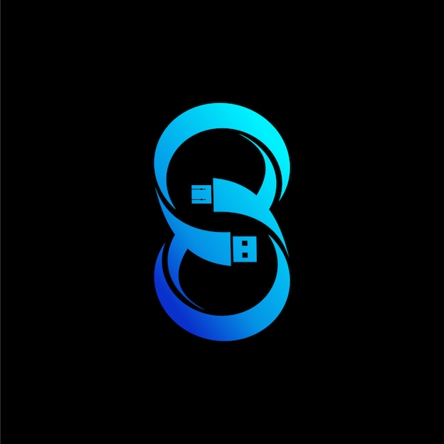 Conceito de logotipo de tecnologia. letra s e número 8 Vetor Premium