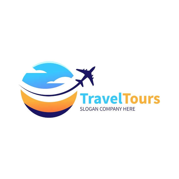 Conceito de logotipo de viagem detalhada Vetor Premium
