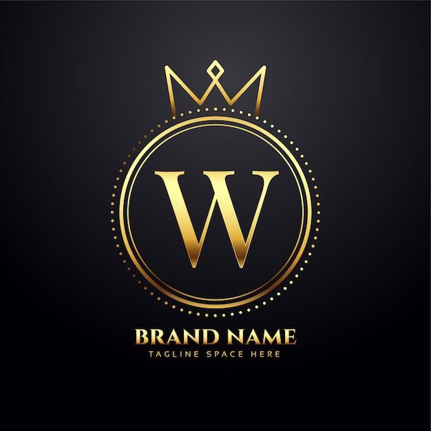 Conceito de logotipo dourado da letra w com formato de coroa Vetor grátis