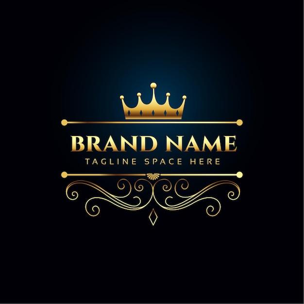 Conceito de logotipo real de luxo com coroa de ouro Vetor grátis