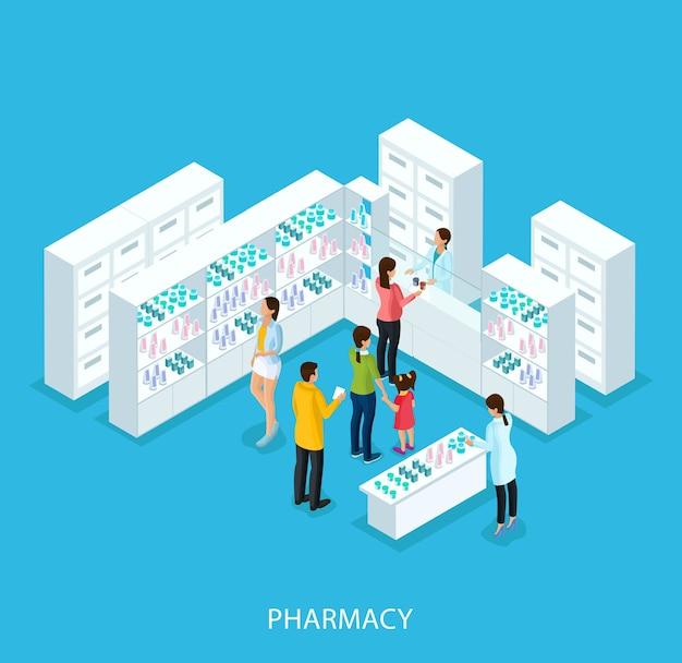 Conceito de loja de farmácia isométrica Vetor grátis