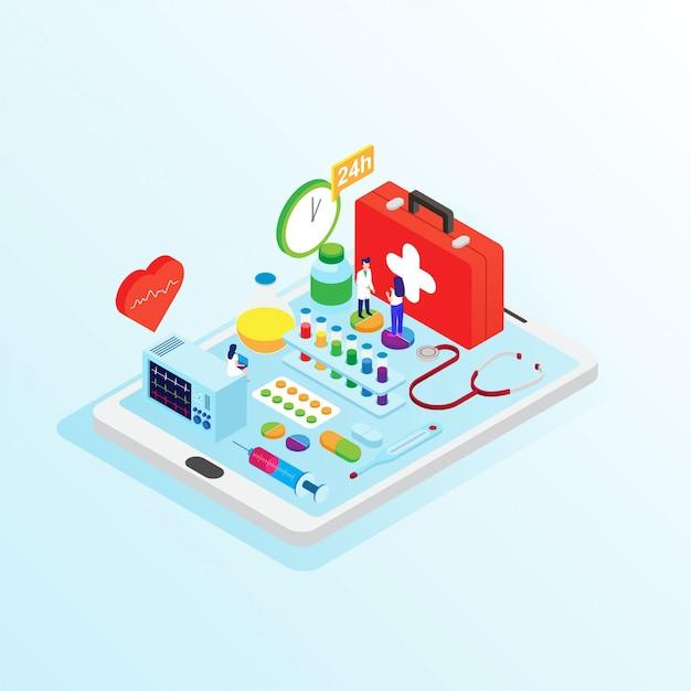 Conceito de loja de farmácia on-line projeto isométrica de apartamento Vetor Premium
