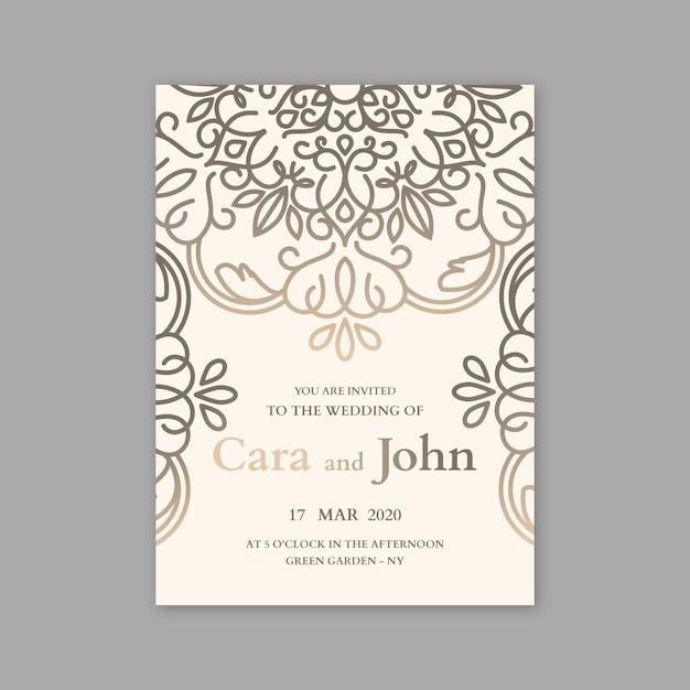 Conceito de luxo para o modelo de convite de casamento Vetor grátis