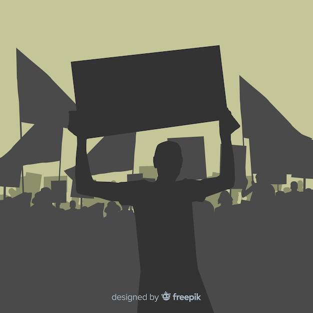 Conceito de manifestação moderna com silhuetas Vetor grátis
