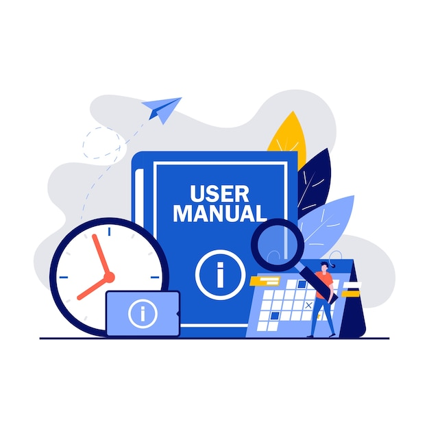Conceito de manual do usuário com personagens. documento de especificações de requisitos. pessoas lendo as instruções do livro e discutindo o conteúdo do guia. Vetor Premium