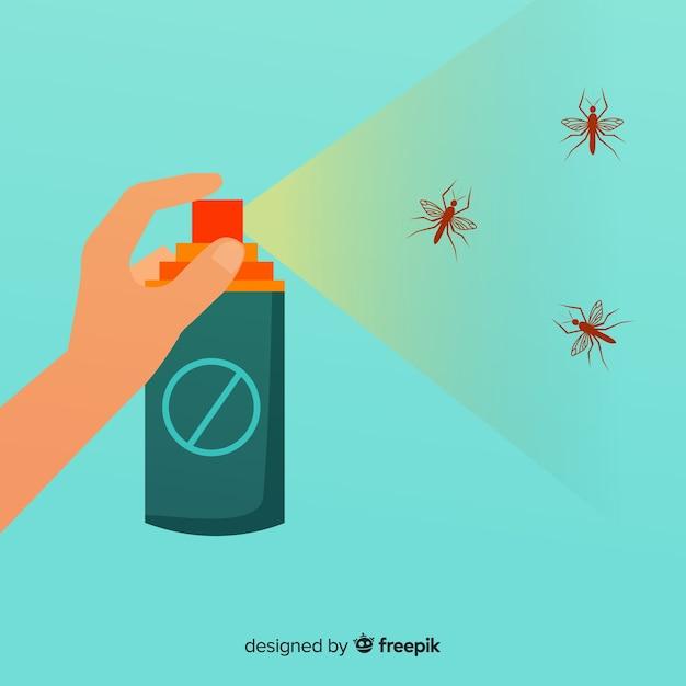 Conceito de mão segurando o spray de mosquito Vetor grátis