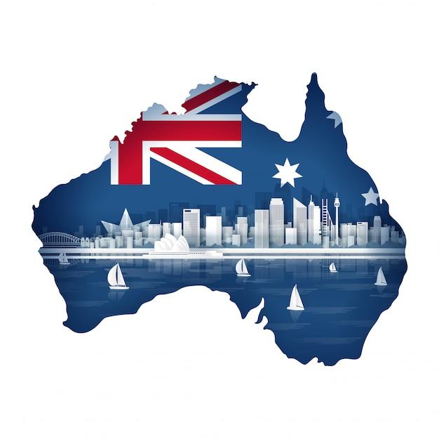 Conceito de mapa da austrália com bandeira e famoso monumento para viagens cartão postal e cartaz, folheto, publicidade Vetor Premium
