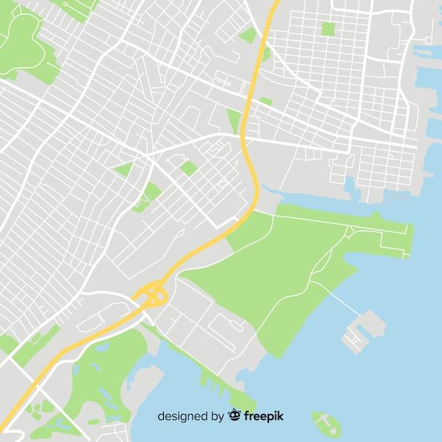 Conceito de mapa da cidade com rota de ruas Vetor grátis
