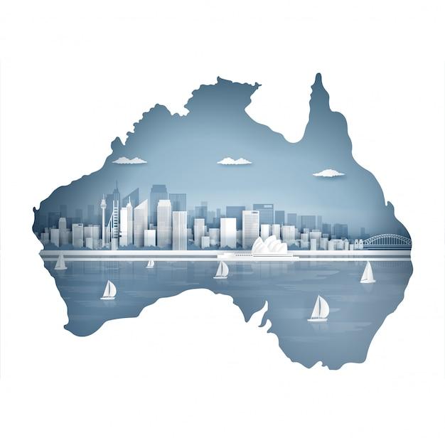Conceito de mapa de austrália com famoso marco para cartão postal de viagens e cartaz, folheto, publicidade Vetor Premium
