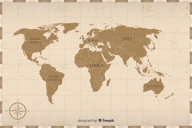 Conceito de mapa mundo vintage colorido Vetor grátis