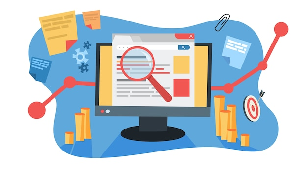 Conceito de mar. ideia de publicidade em motor de busca para site como estratégia de marketing. promoção de páginas web na internet e seo. ilustração Vetor Premium