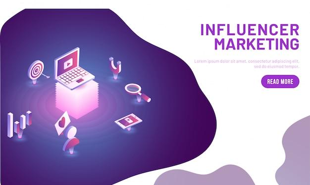 Conceito de marketing de influenciador. Vetor Premium