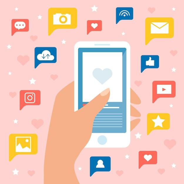 Conceito de marketing de mídia social Vetor grátis