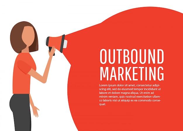 Conceito de marketing de saída. publicidade online e promoção de negócios. Vetor Premium