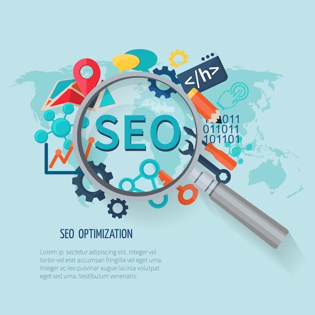 Conceito de marketing de seo com mapa de mundo de símbolos de pesquisa e lupa Vetor grátis