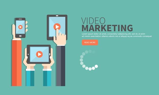 Conceito de marketing de vídeo. marketing de mídia e publicidade Vetor Premium