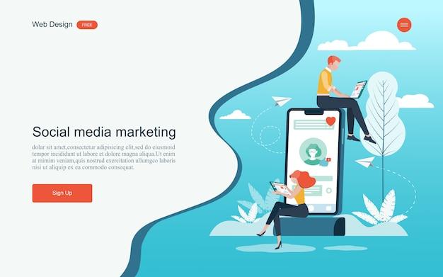 Conceito de marketing digital, análise e desenvolvimento. Vetor Premium