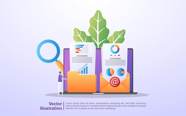 Conceito de marketing digital. as pessoas salvam e compartilham conteúdo de marketing nos emails dos clientes. Vetor Premium