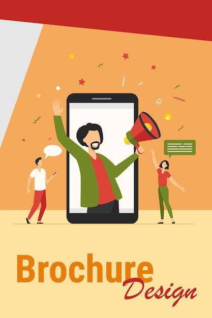 Conceito de marketing do influenciador. blogueiro masculino com megafone, compartilhando informações com o público em sites de mídia social. ilustração vetorial para marketing digital, promoção, tópicos de comunicação Vetor grátis