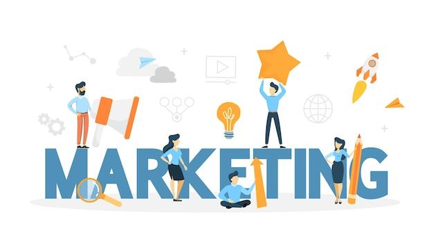 Conceito de marketing. promoção de negócios, comunicação com o cliente e publicidade de produtos online e offline. ilustração de linha Vetor Premium