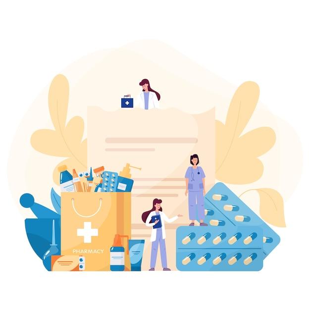 Conceito de medicação. recolha de medicamentos de farmácia em frasco e caixa. comprimido de medicamento para tratamento de doenças e formulário de prescrição. conceito de farmácia e farmacêutico. Vetor Premium
