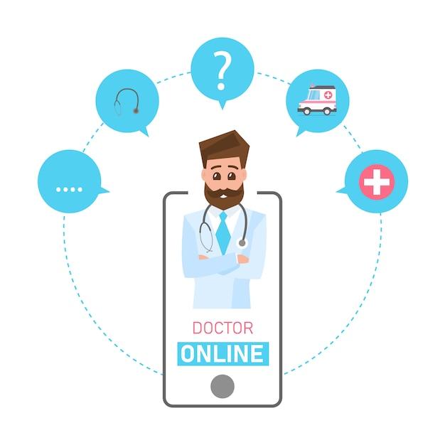 Conceito de médico on-line. consulta e suporte médico on-line. serviços de saúde Vetor Premium