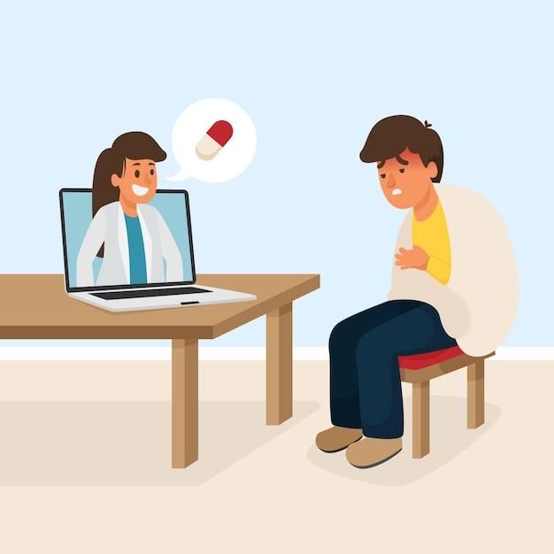 Conceito de médico on-line Vetor grátis