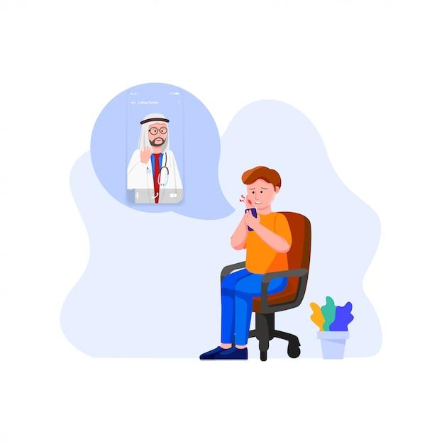 Conceito de médico on-line Vetor Premium