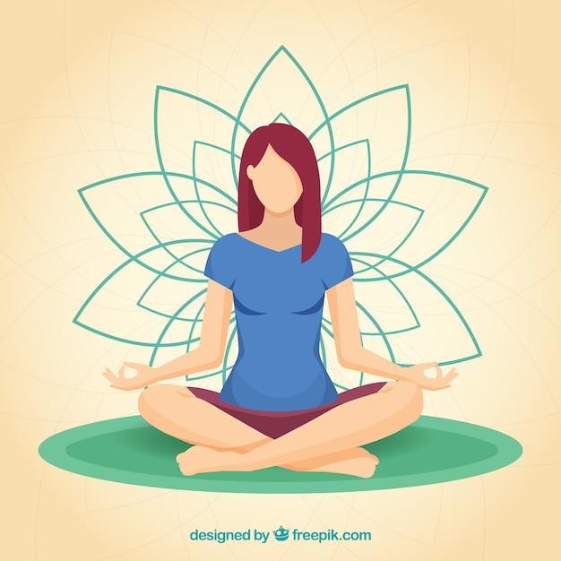 Conceito de meditação com mulher desportiva Vetor grátis