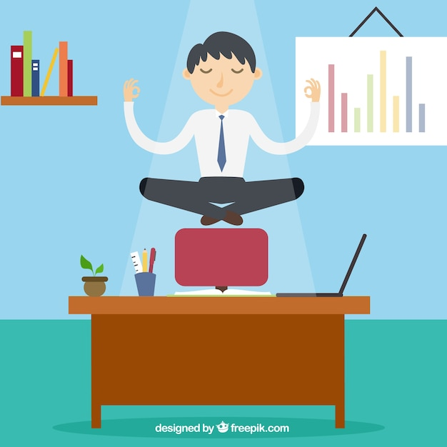 Conceito de meditação com o empresário Vetor grátis