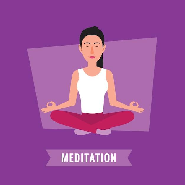 Conceito de meditação. mulher meditando, em, loto, pose Vetor Premium