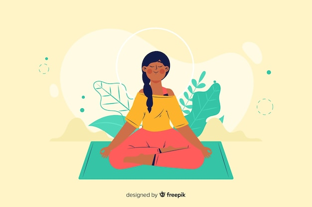 Conceito de meditação para a página de destino Vetor grátis