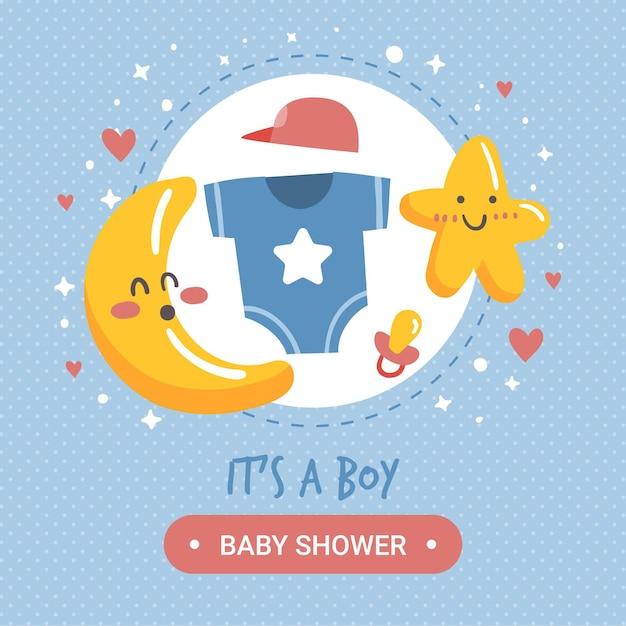 Conceito de menino de chuveiro de bebê Vetor grátis