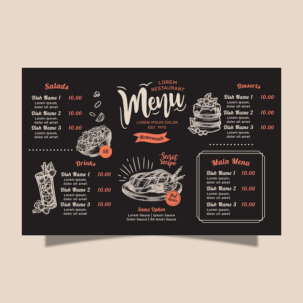 Conceito de menu de restaurante caseiro Vetor Premium